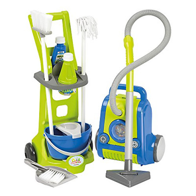 Ecoiffier 1770 Toy Cleaning Trolley & Vacuum Cleaner, Blue and Green