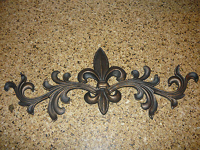Cast Iron, Fleur de Lis, Topper, Wall Plaque, Old World, Tuscan, French Country