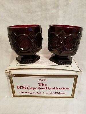 Avon 1876 Cape Cod Collection Footed Glass Set Ruby Red Set of 2 IN BOX