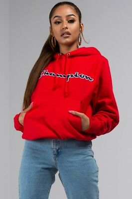 new shop for best popular stores CHAMPION LIFE REVERSE Weave Script Logo Hoodie Women Pullover Sweatshirt  Red XS