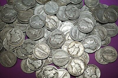 Lot 10 MERCURY DIMES 90% Silver Coins Random Picked Mixed Dates & Mints #MD1613R