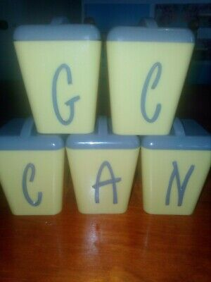 Retro complete Gay Ware spice canisters, yellow and grey