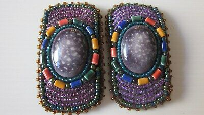 1930,s fabulous shoe clips in beads and glass.