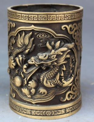 Upscale China Silver Copper Carving Dragon Pen Container Collection
