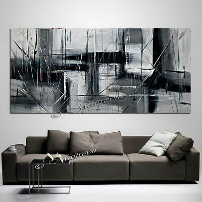 "Abstract Art Black and White Painting 72"" on Canvas, Hand Signed Original Wall A"