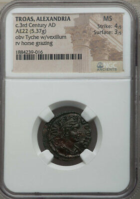 Troas Alexandria AE22 NGC MS 4/3 3rd Cent AD Tyche + Horse !