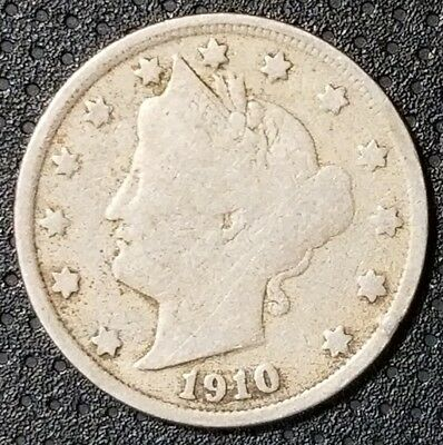"""1910 Liberty Head """"V"""" Nickel Nice Coin For Your Collection FREE SHIPPING"""
