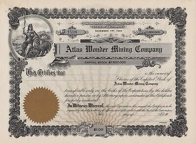 California 1909 Atlas Wonder Mining Company Stock Certificate