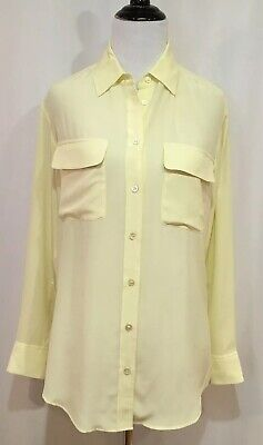 c667f2f12 Equipment Reese Signature Light Yellow Silk Boyfriend Style Blouse, Size XS