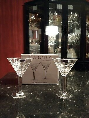 Brand New in! Marquis by Waterford Crosby Set/Pair of 2 Martini Glasses