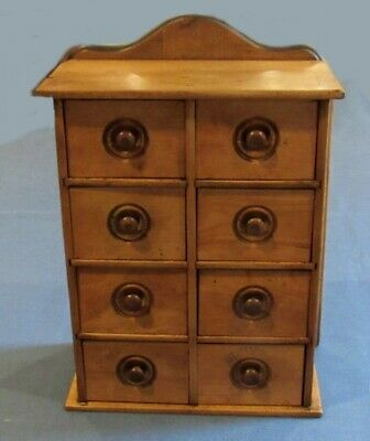 Antique Wood Hanging Wall Apothecary Spice Cabinet Chest 8 Drawer