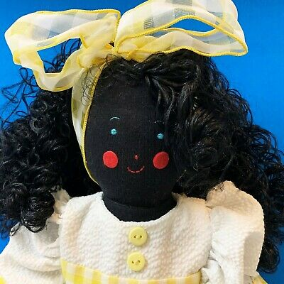Kate Finn 55cm Black Rag Doll, Curly Black Locks, Sunny Yellow & White Outfit