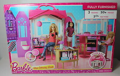 Barbie Glam Getaway House Fully Furnished 3 Rooms NEW