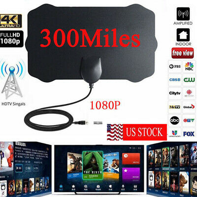 Antenna TV Digital HD 300 Mile Range Skywire TV Indoor 1080P 4K 28dB Coax Cables