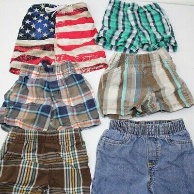 BABY BOY CLOTHES LOT SIZE 12M 12 MONTHS 6 Pairs of Shorts Swim Plaid Carter's