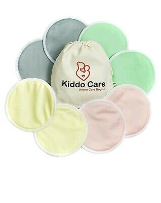 Kiddocare New Bamboo Reusable Nursing Breast Pads 8 (4 pairs)and Wash Bag