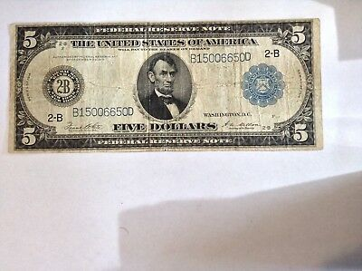 1914 $5 Lincoln Federal Reserve Note Large Size Currency Fine Circulated