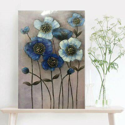 Modern Abstract Handmade Blue Flowers Oil Painting Pure Stretched Canvas Framed
