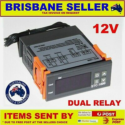 Fridge Temperature Controller Dual Relay 12Vdc 10A Thermostat Relay Defrost