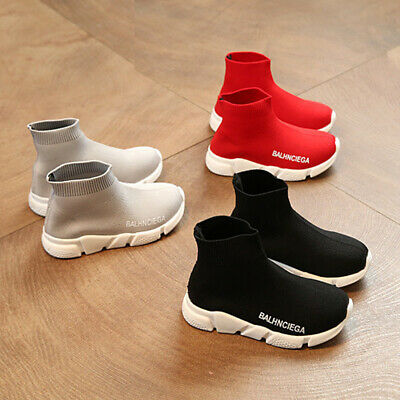 Girls Boys Kids Sock Knitted Flat Sneakers Trainers Speed Runners Sport Shoes UK