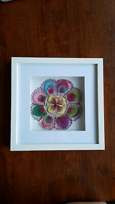 Handmade Paraguayan lace art in box frame  (24 x 24 cm) - can be hung or stood
