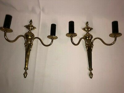 An Elegant Pair of Two Arm Brass Wall Sconces