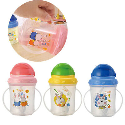 Leakproof Drinking Tool Infant Water Bottle Sippy Baby Straw Cup With Handle