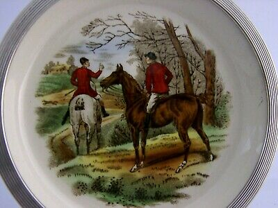 STERLING SILVER SPODE CHINA FOX HUNTING DISH c1950's THE FIND
