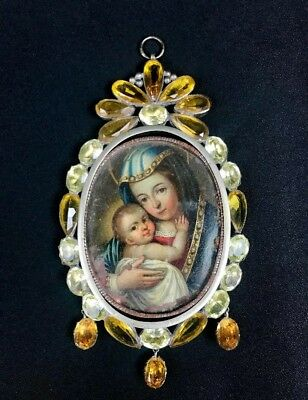 Magnificent 17th century reliquary pendant Silver frame oil painting on copper