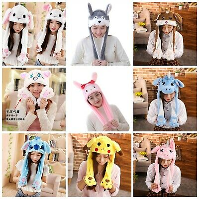 Cute Cartoon Moving Ears Pikachu Unicorn Stitch Plush Novelty Hat Dancing Hat