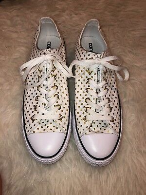 a2ede864a86 Converse Ox White   Gold Polka Dot Canvas Sneakers Shoes Women s 12 Men s  10 NEW