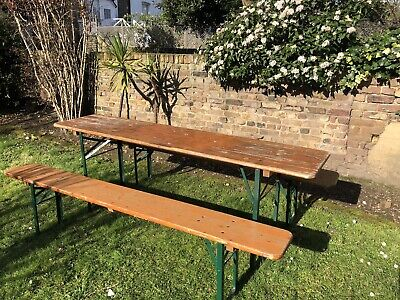 Authentic Vintage German Beer Table Benches - Garden - Dining - Picnic Table