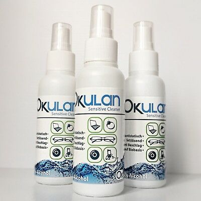 3 Bottles Of Okulan Glass Spectacle Mirror Jewellery 3 X 100ml Sensitive Cleaner