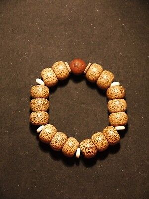 Large Nepal Bodhi Seed Bracelet with Antique Phoenix Bead Private Collection