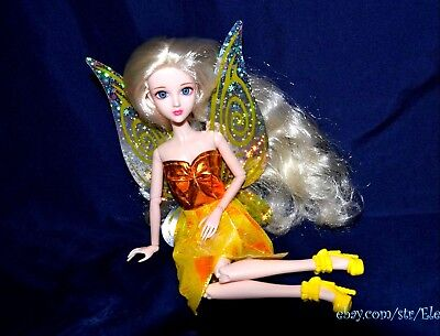 Barbie Tinker Bell Disney FAIRY Doll Replacement Wings Dress Shoes Set YELLOW