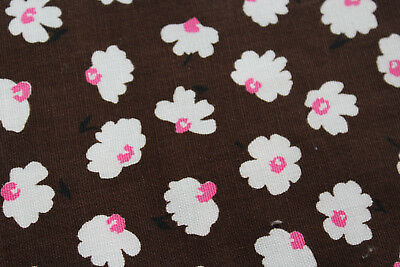 3 YARDS Retro Twill Cotton Fabric- Brown with White & Pink Flowers