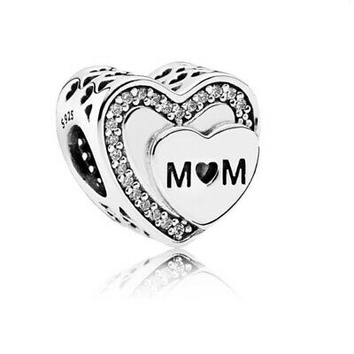 Mum Heart Charm for Bracelet. Authentic 925 Sterling Silver. Mother Gift