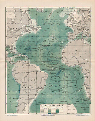 "Antique map. ""ATLANTIC OCEAN"". Circa 1905"