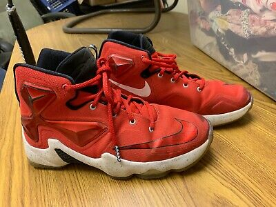 619b9da289e15 NIKE LEBRON JAMES XIII 13 GS 808709-610 Red White Youth Size US 8.5y ...