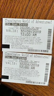 2x Chessington World Of Adventures Tickets 30/9/19