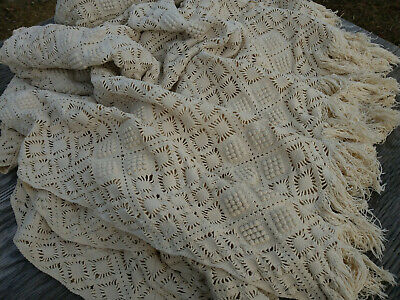 Antique Vtg Crochet Lace Bedspread 74X102 Handmade Coverlet ~Beautiful~