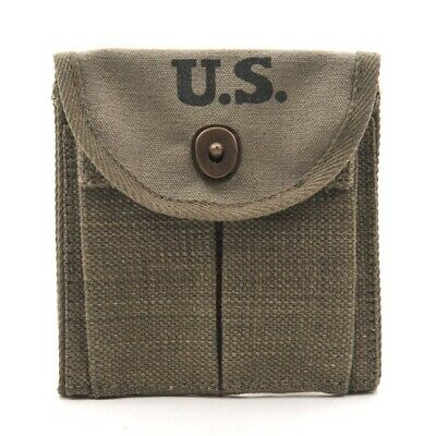 ONE USGI WW2 .30 M1 CARBINE  BUTTSTOCK TYPE POUCH Dark OD Dated 1944 Grade #2