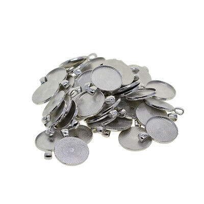 50x silver Cabochon Settings Base Blank Tray for Necklace Pendant Design