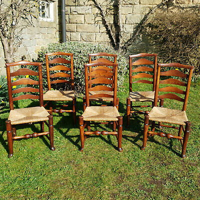 C19th Oak & Elm Rush Seat Ladderback Set of 6 Country Dining Chairs