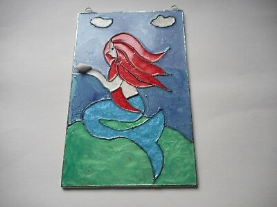 Glass painted Mermaid wall or window hanging picture