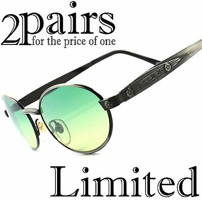 Lot of 2 pairs Classic Mens Womens Green Lens Brushed Metal Oval Sunglasses