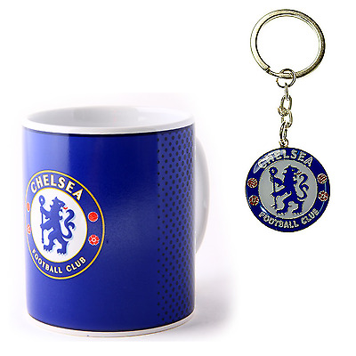 Chelsea Fc Ceramic Mug & Crest Keychain Officially Licensed