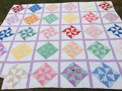 Vtg QUILT Colorful Pinwheel Bright 83 X 97 Hand Tied STACKER DISPLAY CUTTER