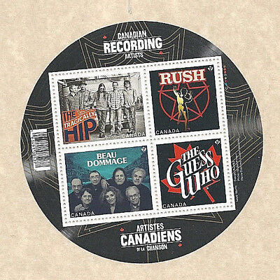 4 Canada Stamps Music Recording Artist Tragically Hip & Rush & Guess Who & Beau