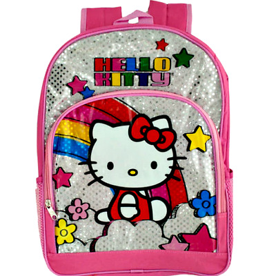 e946794e04 Hello Kitty School Backpacks Bag Pink Book Bags Kids Silver Rainbow Backpack  New